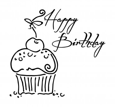 Stempel Happy Birthday Muffin 75 x 70 mm