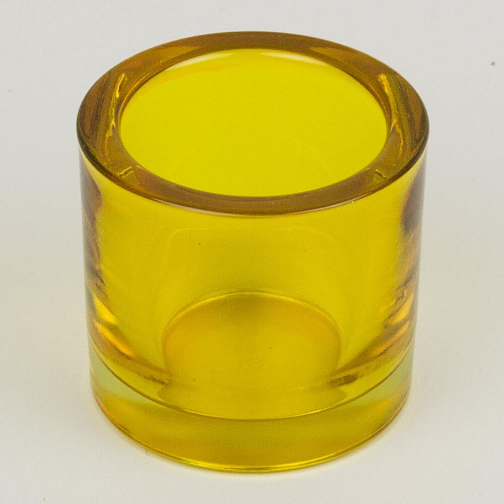 Teelichtglas rund gelb for Dekosteine rund